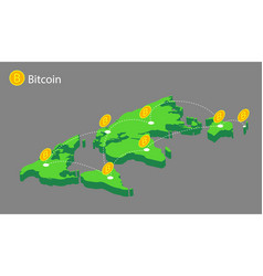 World map with coins bitcoin vector