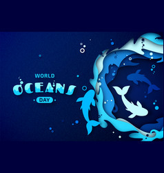 world oceans day paper art origami sea waves vector image
