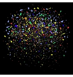 colorful confetti on black vector image