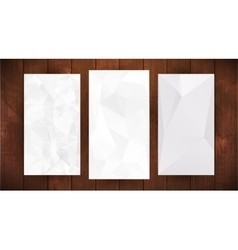 Set of white wrinkled stylized paper on wooden vector image
