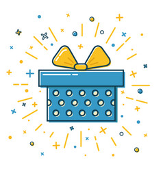 shining gift box icon with dots in flat style vector image vector image