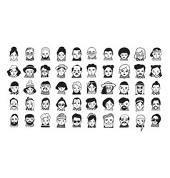 big set of people avatars for social media vector image vector image