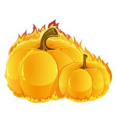 Burning pumpkins vector