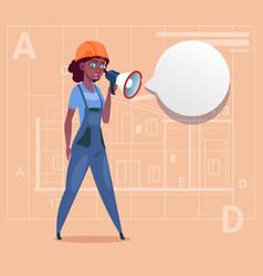 Cartoon female builder holding megaphone making vector