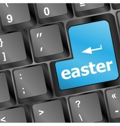 Happy easter text button on keyboard keys vector