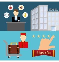 Hotel and digital apps design vector