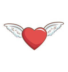 Red heart with wings decoration romance retro vector
