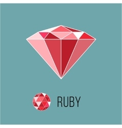 Ruby flat icon with top view Rich luxury symbol vector image