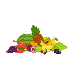 sweet delicious fruits and berries in big heap vector image vector image