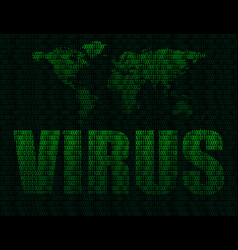 word virus on world map background vector image