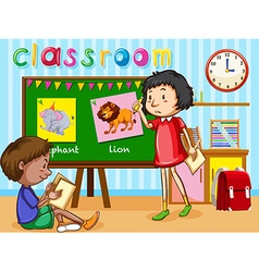 Boy and girl in the classroom vector image vector image