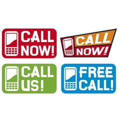 Call now label- Call us label - Free call label vector image