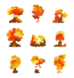 Cartoon explosion effect set Explode flash vector image vector image