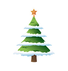 decorated christmas tree pine with snow star vector image vector image