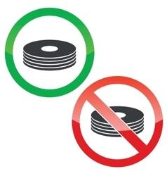 Disc permission signs set vector image