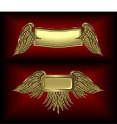 gold winged banners vector image vector image