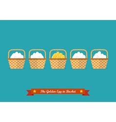 Golden eggs in basket among ordinary eggs vector image vector image