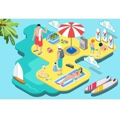Isometric Flat Beach Life - Summer Holidays vector image vector image