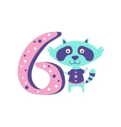 Raccoon Standing Next To Number Six Stylized Funky vector image