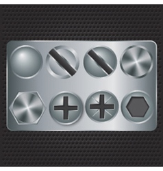 Set of metal screws vector image
