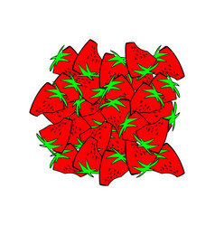 Strawberries bunch isolated red juicy berry much vector