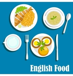 Traditional national english cuisine dishes vector image vector image