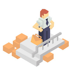 warehouse manager with delivery boxes vector image vector image