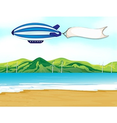 A stripe airship with a white banner vector image vector image