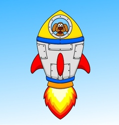 Cartoon astronaut dog in the seceship vector image