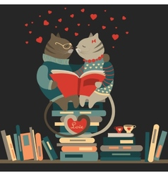 Cats in love reading a book vector image vector image