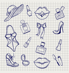 girls fashion elements set sketch vector image