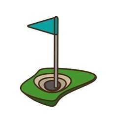golf flag hole isolated icon vector image vector image