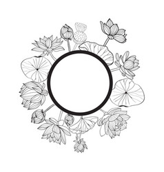 hand drawn round floral frame vector image