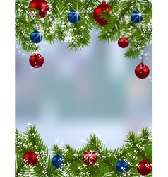 Holiday card Green fir branches with red and blue vector image vector image