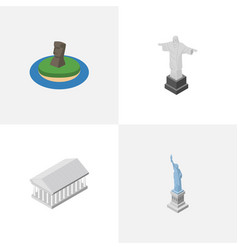 isometric architecture set of new york chile vector image vector image
