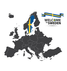 map of europe with the state of sweden vector image