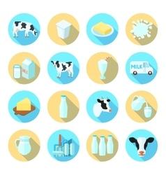 Milk flat icons set vector
