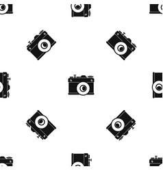 retro camera pattern seamless black vector image vector image