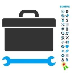 Toolbox Flat Icon with Bonus vector image