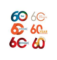 60 year anniversary set template design vector