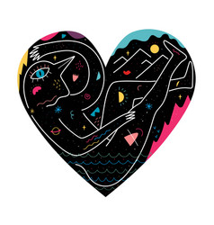 abstract with black heart doodle elements vector image
