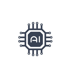 Ai chipset artificial intelligence icon vector
