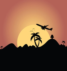 airplane flying over mountain with palm silhouette vector image