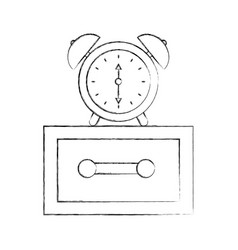 alarm clock on bedside table alert morning vector image