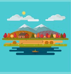 autumn landscape flat design vector image