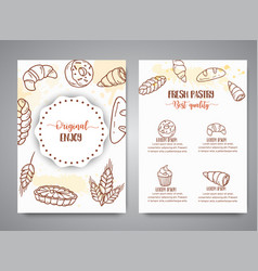 Bakery vintage brochure with sketch pastries vector