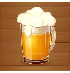 Beer in glass Realistic vector image