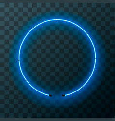 blue neon round frame template on transparent vector image