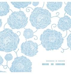 Blue textile peony flowers frame corner pattern vector image