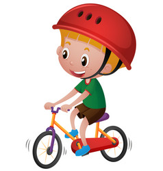 boy riding bicycle with his helmet on vector image